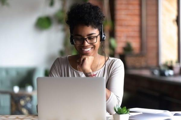 woman taking public speaking masterclass online